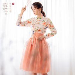 생활한복세트 살구화 저고리 + 다미혜 + 금잔화 허리치마