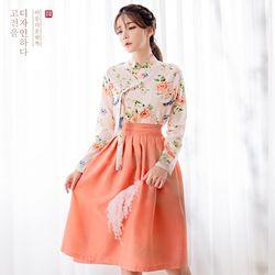 생활한복세트 살구화 저고리 + 다미혜 허리치마