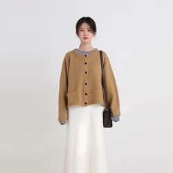 dove round knit cardigan (3colors)