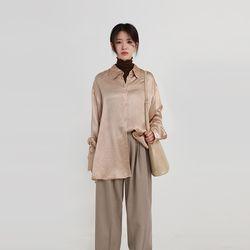 shiny boxy silk shirt (2colors)