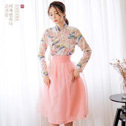 생활한복세트분홍꽃 저고리 +늘품 허리치마+ 예님 허리치마