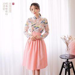 생활한복세트분홍꽃 저고리 + 늘품 피치 허리치마