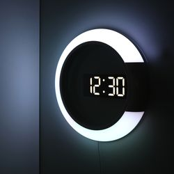 무아스 무드등 듀얼 미러클락 LED벽시계