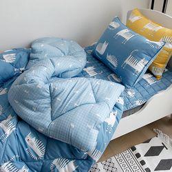 잠자는 고양이 모달 가을차렵이불 (블루) - 싱글이불베개세트
