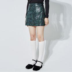 glossy leather python mini skirt (3 color)