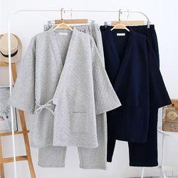 겨울용 유카타잠옷 커플 민무늬 누빔 투피스 잠옷