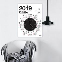 퍼니즈 2019 캘린더클락 (벽시계+포스터달력)  벽걸이달력