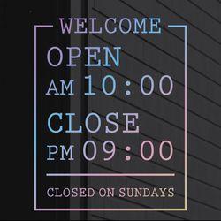 홀로그램 영업시간 오픈클로즈스티커 - 데노 (L)
