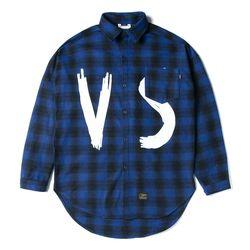 VSC OVERSIZED WOOL CHECK SHIRTS BLUE