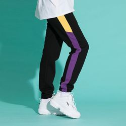 기모 LINE SWEAT JOGGER PANTS BLKPURPLE