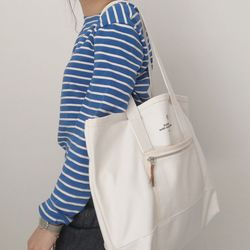 slowstitch canvas bag ( white )