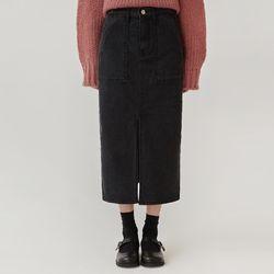 idea black denim midi skirt (s m l)