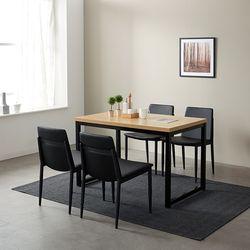 [스크래치] 모던블랙 슬로 4인 식탁 (의자별도)
