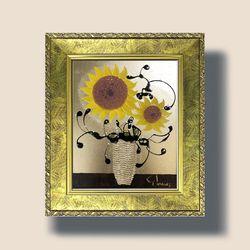 부자되는그림 황금 해바라기 그림 액자 세로형