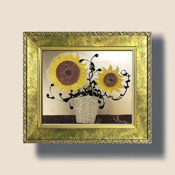 부자되는그림 액자 황금 해바라기 그림 액자 가로형