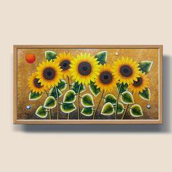 황금태양 해바라기 그림액자 유화그림 풍수지리