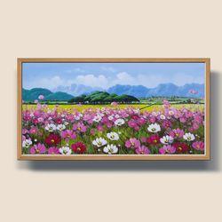 코스모스 풍경화 유화그림 풍수지리 그림액자