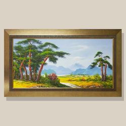 고향풍경 풍경화 유화그림 풍수지리 그림액자
