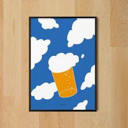 유니크 인테리어 디자인 포스터 M 구름맥주 A3(중형)