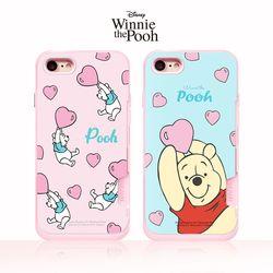 디즈니 곰돌이 푸 핑크카드범퍼(2디자인)(아이폰6 6S 공용)