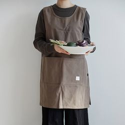[basic series] one-piece apron[brown]