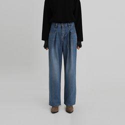waist pintuck denim pants