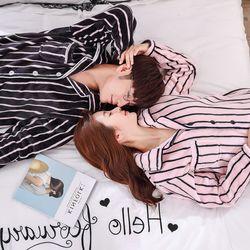 스트라이프 밍크 극세사 커플수면잠옷 커플 파자마