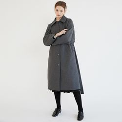 BUTTON BELTED WOOL CT (CHARCOAL)