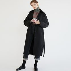 BUTTON BELTED WOOL CT (BLACK)