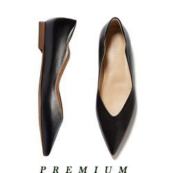 Wave point flat shoes Black