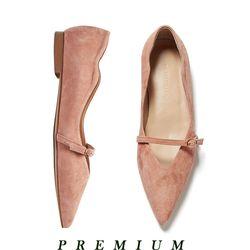 Wave belt strap flat shoes Pink beige