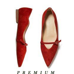Wave belt strap flat shoes Brick red