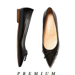 Classic ribbon flat shoes Black