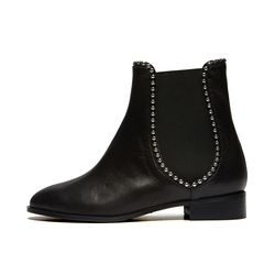 Silver ball ankle boots Black
