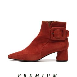 Pointed ankle boots Brick red