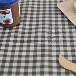 베이직 컨츄리체크 방수식탁보(브라운-2인110cm)