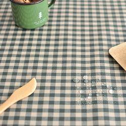 베이직 컨츄리체크 방수식탁보(카키-2인110cm)