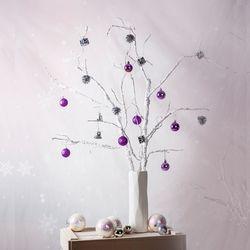 인테리어 소품 크리스마스 흰가지 바이올렛 가랜더 트리 세트