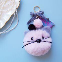 토이 키링-고양이 얼굴 폼폼이(핑크)
