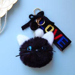 토이 키링-고양이 얼굴 폼폼이(블랙)