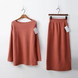 [Set] Hoega Cashmere N Wool Lip Knit + Long Skirt