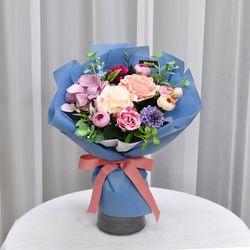 미니폼폼블루-조화 꽃다발 졸업식 재롱잔치 사탕 부케