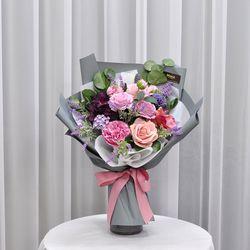 로즈그레이 -조화 꽃다발 졸업식 재롱잔치 사탕 부케