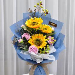 해바라기-조화 꽃다발 졸업식 재롱잔치 사탕 부케