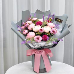 핑크러넌라벤다 -조화 꽃다발 졸업식 재롱잔치 사탕 부케