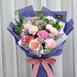 블루라벤다 -조화 꽃다발 졸업식 재롱잔치 사탕 부케