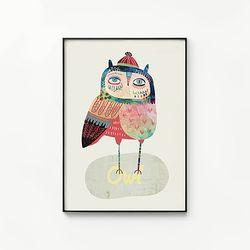 메탈 북유럽 동물 그림 포스터 액자 유니크 부엉이 A [대형]