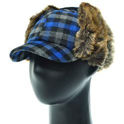 [플릭앤플록]EJO02.체크 귀달이 털 캡모자 방한 모자