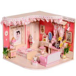 [adico]DIY 미니어처 우드 하우스 - 핑크 침대방