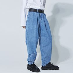 pocket denim baggy pants - UNISEX